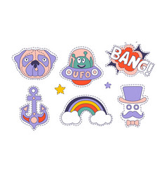 cute trendy patches set colorful stickers vector image