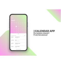 design calendar app ui ux concept vector image