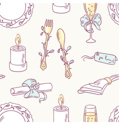 Doodle wedding table decoration seamless pattern vector image