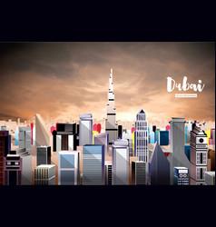 Dubai city skyline aerial view vector