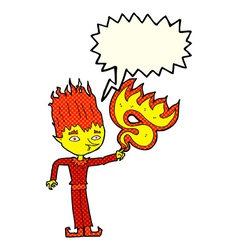 fire spirit cartoon with speech bubble vector image