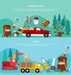 flat lumberjack banner set vector image