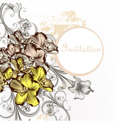 floral invitation card with flowers in vintage vector image