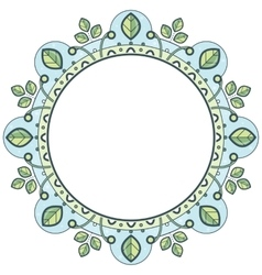 Floral wreath in zentangle style Circle frame vector image
