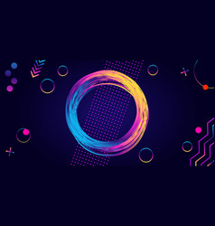 frame glowing circle and rainbow geometric vector image