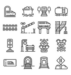 gary rain and railways icon set vector image