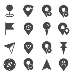 gray map pointer icons set vector image