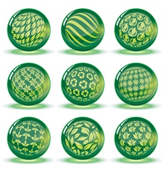 Green glossy spheres set vector image
