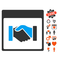 Handshake calendar page icon with dating bonus vector