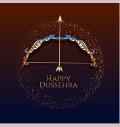 Happy dussehra festival card with artistic bow vector
