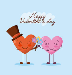 happy valentines day cute couple cartoon hearts vector image
