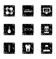 Healing icons set grunge style vector