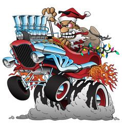 Hot rod santa christmas cartoon car vector