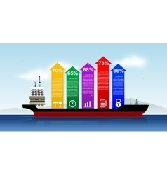 infographic Template with shipping boat vector image