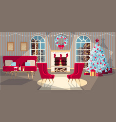 Interior with fire place vector