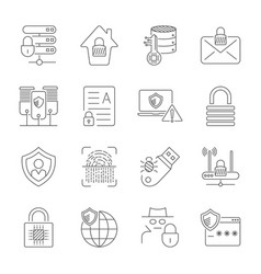 Internet security and digital protection icons set vector