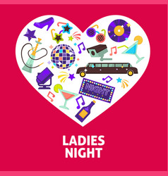 ladies night party heart poster vector image
