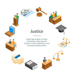 law court 3d banner card circle isometric view vector image