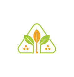 Leaf and wheat abstract triangle logo vector