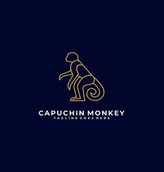 logo monkey pose line art vector image