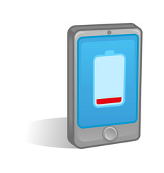 low battery on smartphone vector image