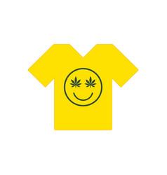 marijuana smiley face cannabis smile yellow tee vector image