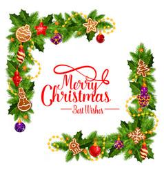 merry christmas frame wreath vector image