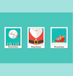 merry christmas images on polaroid photo frames vector image