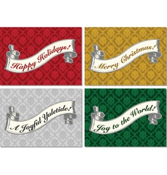 Merry Christmas scroll banner vector