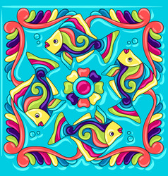 Mexican talavera ceramic tile pattern with fishes vector