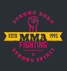 Mma fighting logo emblem t-shirt design print vector