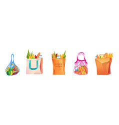 net cotton and paper shopping bags with grocery vector image