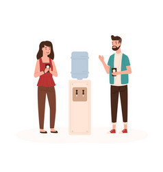 office workers chatting near water cooler flat vector image