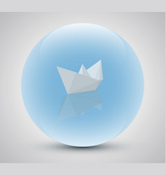 paper boat in a magic sphere vector image