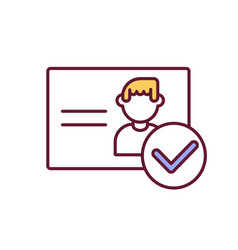 Personal document check rgb color icon vector