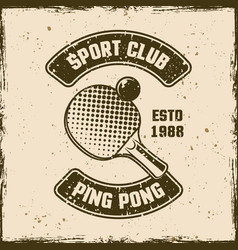 Ping pong sport club vintage emblem vector