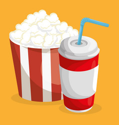 pop corn and soda fast food menu vector image