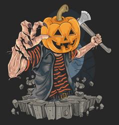 pumpkin zombie halloween killer artwork vector image