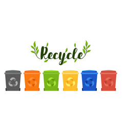 recycle banner colorful eco trash bins vector image