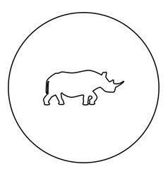 rhinoceros black icon outline in circle image vector image