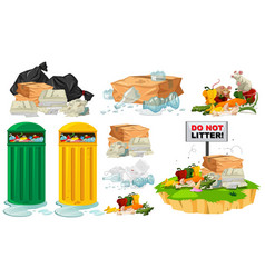 rubbish on the floor and trashcans vector image