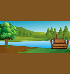 Scene with river and pine trees vector
