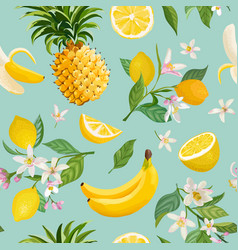 seamless fruit pattern lemon banana pineapple vector image
