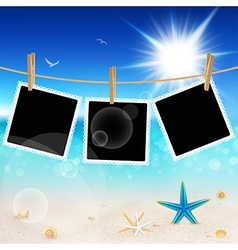 Seascape and photo frames vector