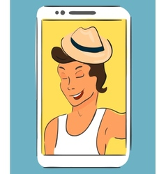 Selfie of guy wearing hat Handdrawn vector image