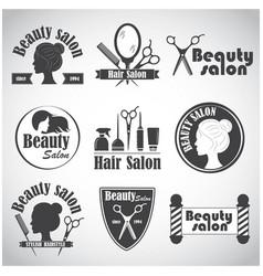 set emblem label badge logos for hairdressers vector image