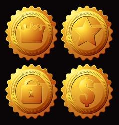 Set gold medallion vector