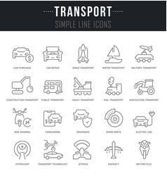Set line icons transport vector