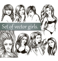 Set of girls vector image