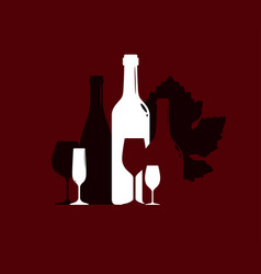 silhouette of wine bottles and wineglasses on the vector image